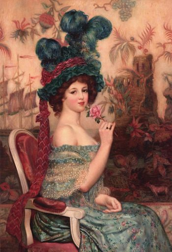 Elegant Lady with a Rose | Abel Faivre | oil painting