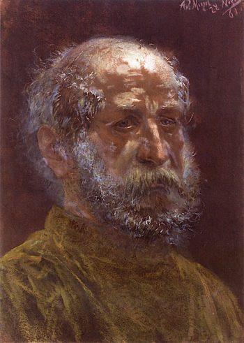 Head of a Baldheaded Jew with Full Beard | Adolph von Menzel | oil painting