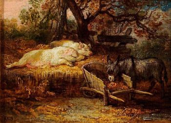 Donkey and Pigs | James Ward | oil painting