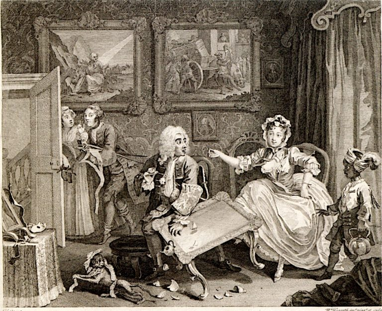 A Harlots Progress -  2. Her Quarrel with Her Protector   William Hogarth   oil painting