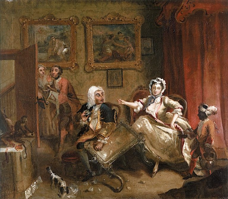 A Harlots Progress -  2. Her Quarrel with Her Protector (sketch) | William Hogarth | oil painting