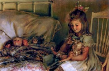Maternal Cares | Charles Courtney Curran | oil painting