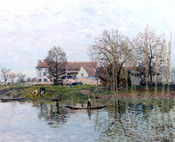 Farm on the Banks of the Seine at Port - Marly | Alfred Sisley | oil painting