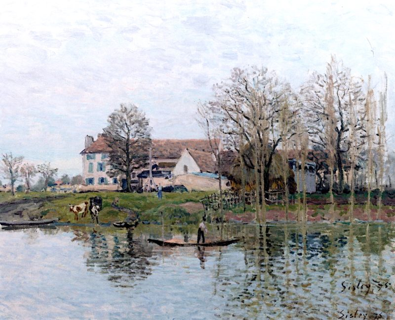 Farm on the Banks of the Seine at Port - Marly   Alfred Sisley   oil painting