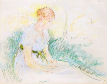 Girl Seated in a Field | Berthe Morisot | oil painting