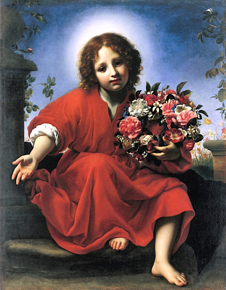 Christ Child with a Garland of Flowers   Carlo Dolci   oil painting