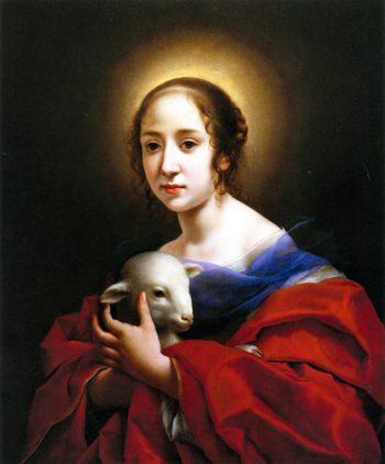 Teresa Bucherelli as Saint Agnes | Carlo Dolci | oil painting