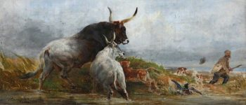 Alarmed -  Cattle Chasing a Wild - Fowler | Charles Poingdestre | oil painting