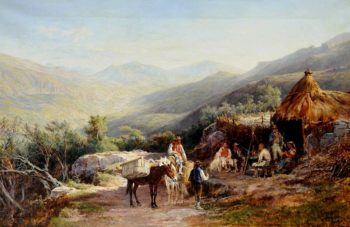 Encampment Scene with Mules and Muleteers in the Tyrol | Charles Poingdestre | oil painting
