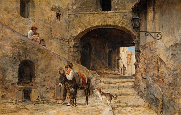 Anticoli Corrado on the Sabine Mountains   Charles Poingdestre   oil painting