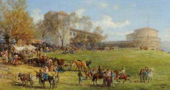 View of Grottaferrata Fair near Rome | Charles Poingdestre | oil painting