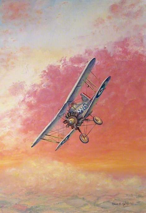 Biplane with RAF Markings   Robert Morley   oil painting