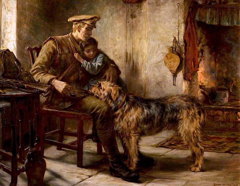 Home on Leave from France   Robert Morley   oil painting