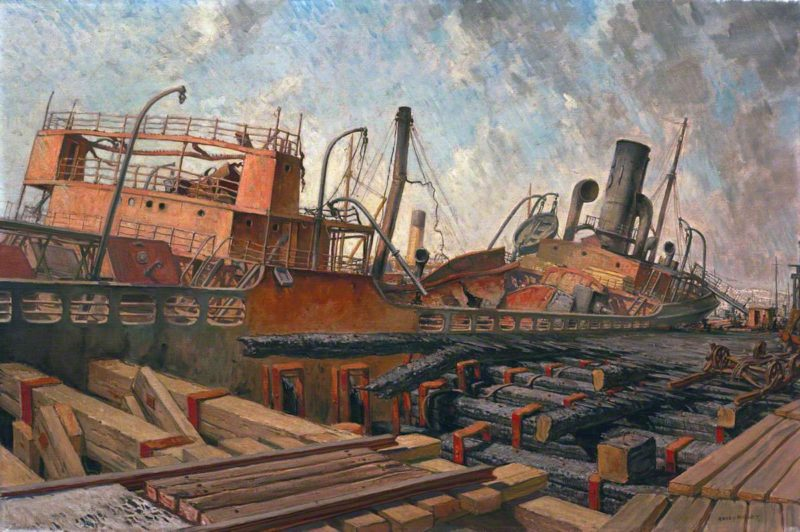 The Bombed SS Toscalusa at a Western Port | Harry Morley | oil painting