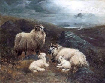 Four Sheep in a Landscape | Robert Watson | oil painting