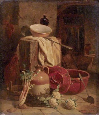 Still Life of Kitchen Utensils and Vegetables | William Hughes | oil painting
