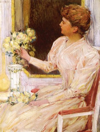 The Lady with Yellow Roses | Childe Hassam | oil painting