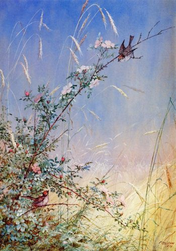 Wild Roses Among Rye | Fidelia Bridges | oil painting