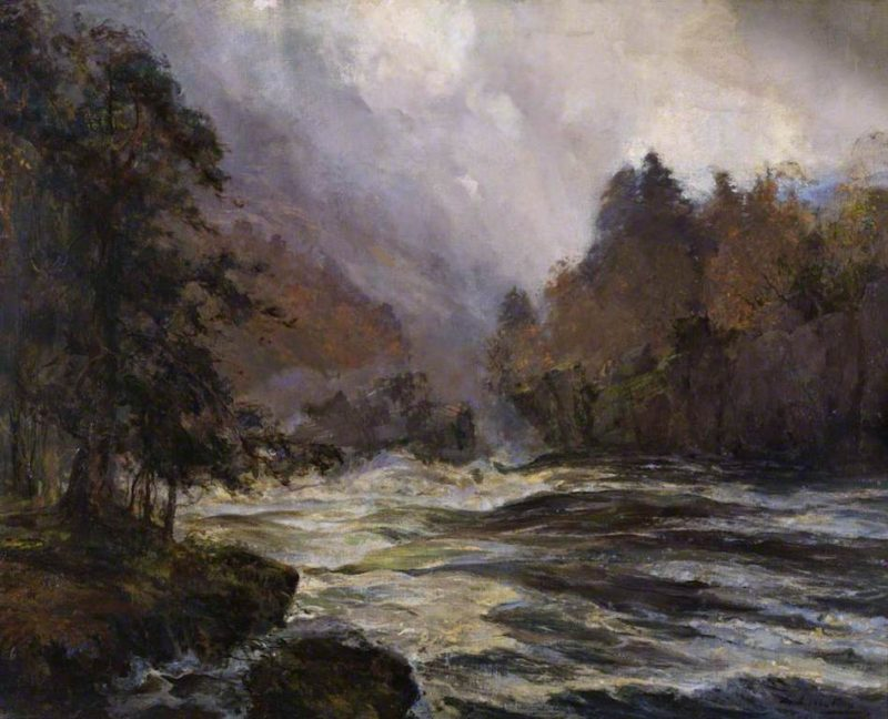 I hear the river roaring down towards the wintery sea | Archibald Kay | oil painting