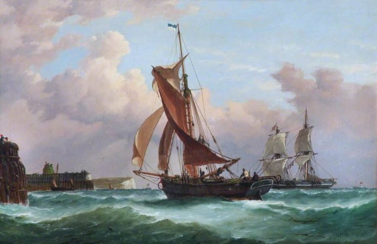 A Fishing Smack Running into Newhaven | Richard Henry Nibbs | oil painting