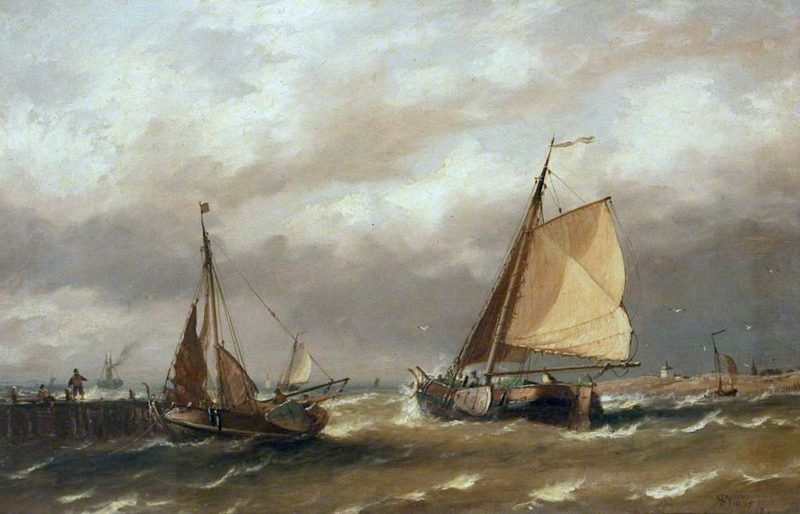 Dutch Boats Leaving Harbour in a Breeze | Richard Henry Nibbs | oil painting