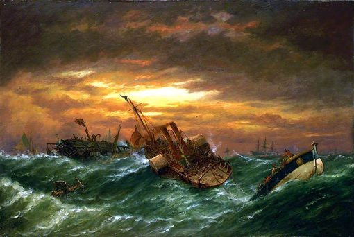 Shipwreck with a Paddle Tug Towing a Lifeboat in a Gale | Richard Henry Nibbs | oil painting