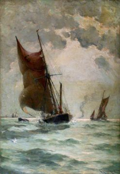 A Swim - Headed Barge in a Breeze | Edmund Aubrey Hunt | oil painting