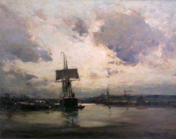 A Tidal River   Edmund Aubrey Hunt   oil painting