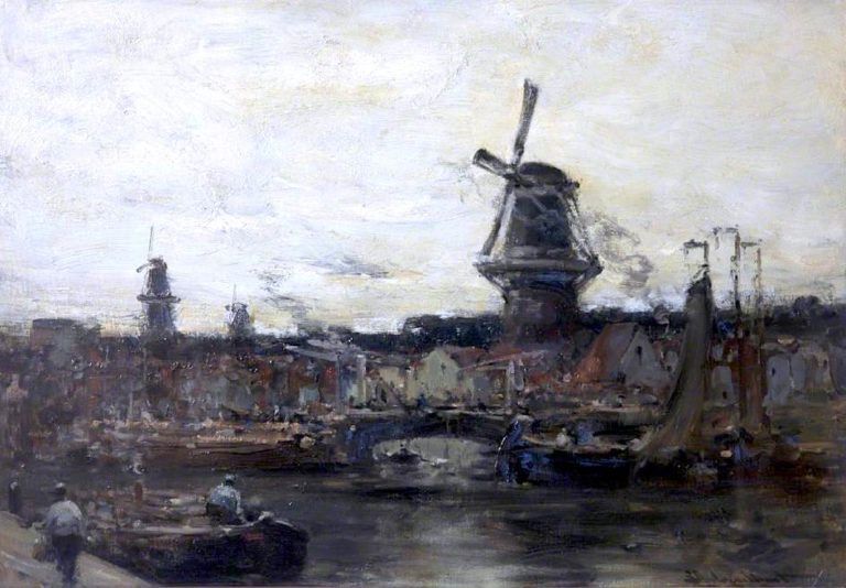 An Old Dutch Town | Edmund Aubrey Hunt | oil painting