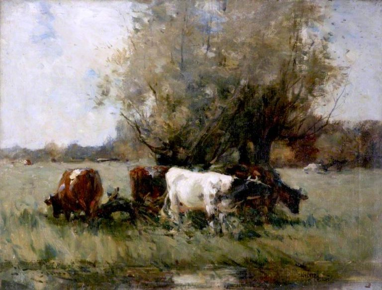 Cattle by a Clump of Willows (study) | Edmund Aubrey Hunt | oil painting