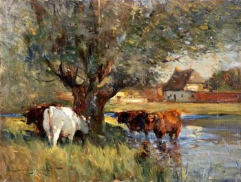 Cattle in the Shade of a Large Willow Tree (study) | Edmund Aubrey Hunt | oil painting