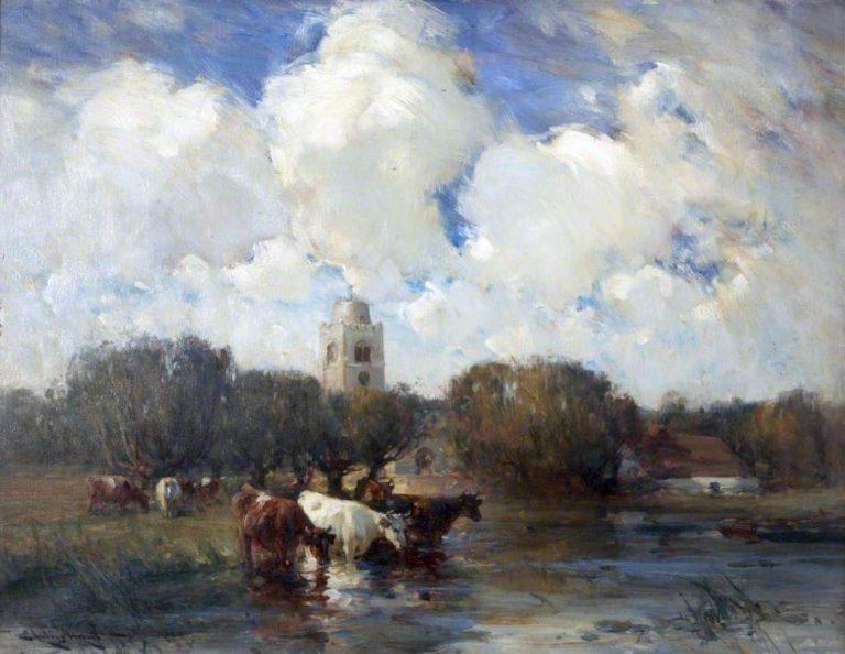 Cows and a Village | Edmund Aubrey Hunt | oil painting