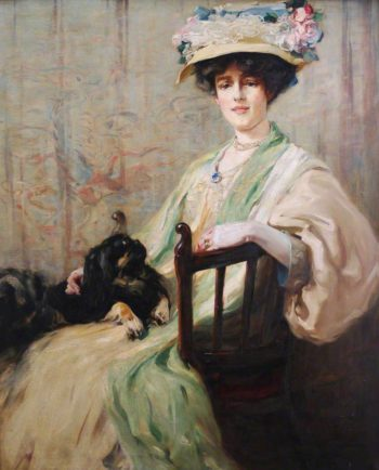 Mrs Howard Stormont and Her Pekingese Prince Pri | Edmund Aubrey Hunt | oil painting