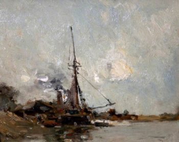 River Scene   Edmund Aubrey Hunt   oil painting