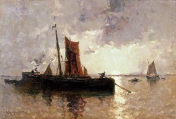 River Scene with Shipping | Edmund Aubrey Hunt | oil painting
