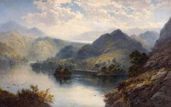 Loch Katrine and Loch Vennacher from Ben Venue | George Blackie Sticks | oil painting