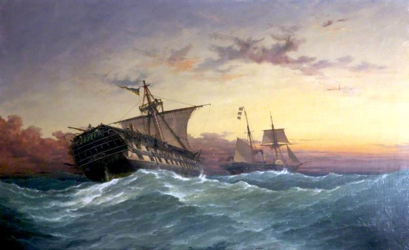 HMS Bombay | Richard Henry Nibbs | oil painting