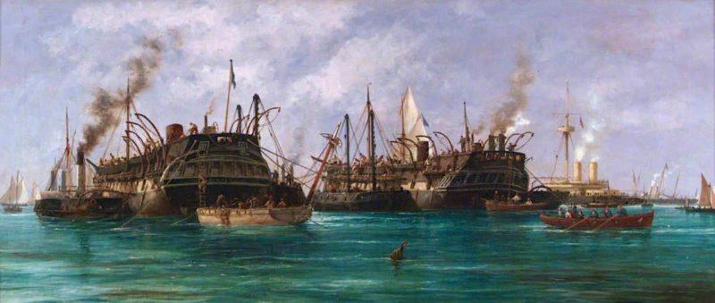 The Raising of HMS Eurydice   Richard Henry Nibbs   oil painting