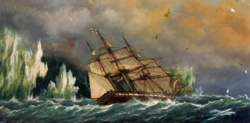 The Ship Essex near Icebergs | Richard Henry Nibbs | oil painting