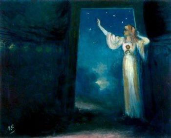 Deirdre at the Door of Her Dun | George William (A.E. Russell | oil painting