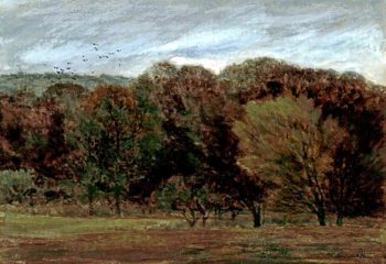 Edge of a Wood with a Flock of Birds Flying | Daniel Alexander Williamson | oil painting