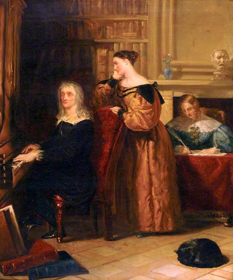 Milton and His Daughters at the Organ   Benjamin Robert Haydon   oil painting