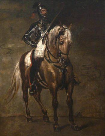 Study of a Man in Armour on Horseback   Benjamin Robert Haydon   oil painting