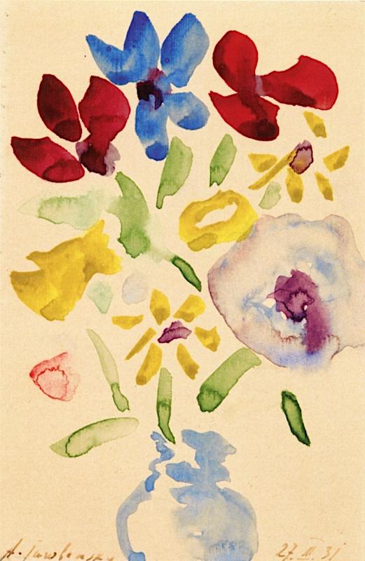 Flowers in Blue Vase | Alexei von Jawlensky | oil painting