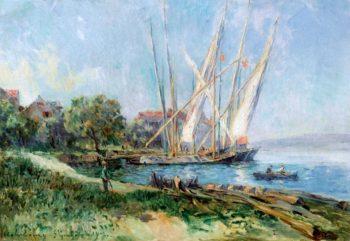 Sailboats at Saint - Gingolph | Albert Lebourg | oil painting