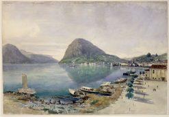 Lugano mit dem Monte San Salvatore | Thomas Ender | oil painting