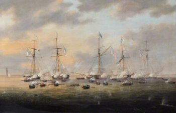 British and American Gunboats in Action on Lake Borgne