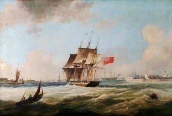 HMS Pique Entering Portsmouth Harbour | Thomas Lyde Hornbrook | oil painting