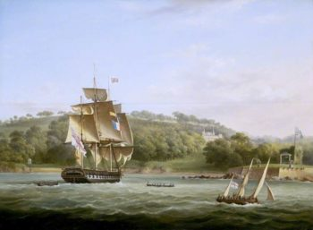 A Frigate and Other Vessels in Barn Pool off Plymouth | Thomas Lyde Hornbrook | oil painting