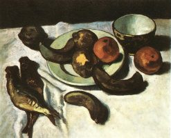 Still life (Banana, Oranges and Fishes) c 1910 | Dezso Czigany
